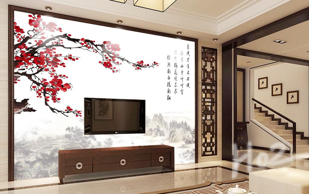 红梅电视背景墙