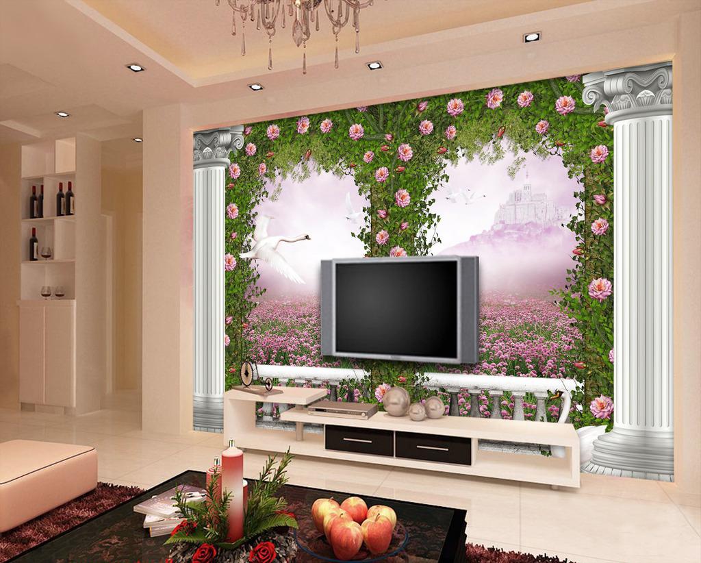 欧式大门3d罗马柱玫瑰蔷薇电视背景墙图片
