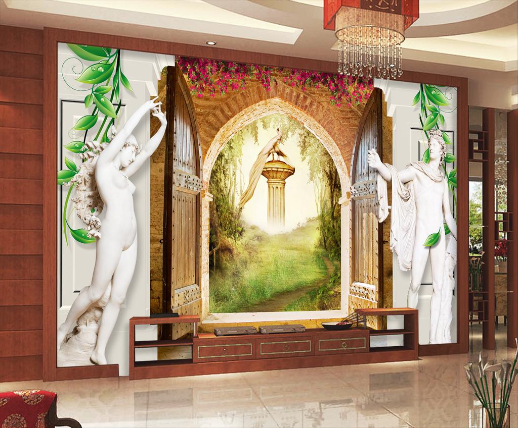 欧式大门3d罗马柱雕塑蔷薇电视背景墙