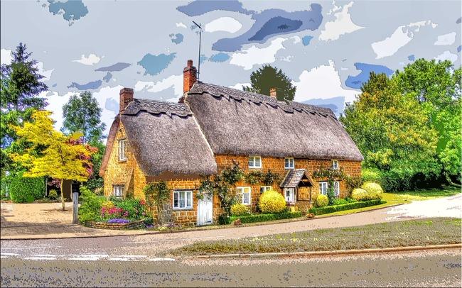 田园风光风景童话小屋木刻无框画