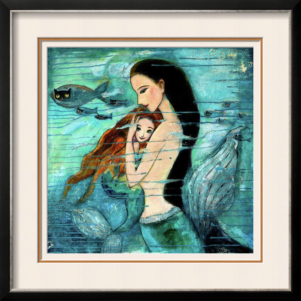 美人鱼/美人鱼母子油画模板下载...
