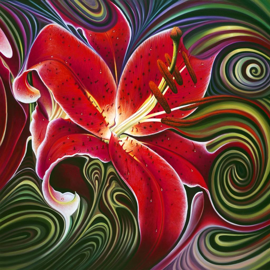油画 红色/抽象红色百合油画