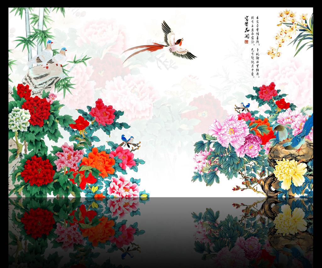 工笔画花鸟背景墙