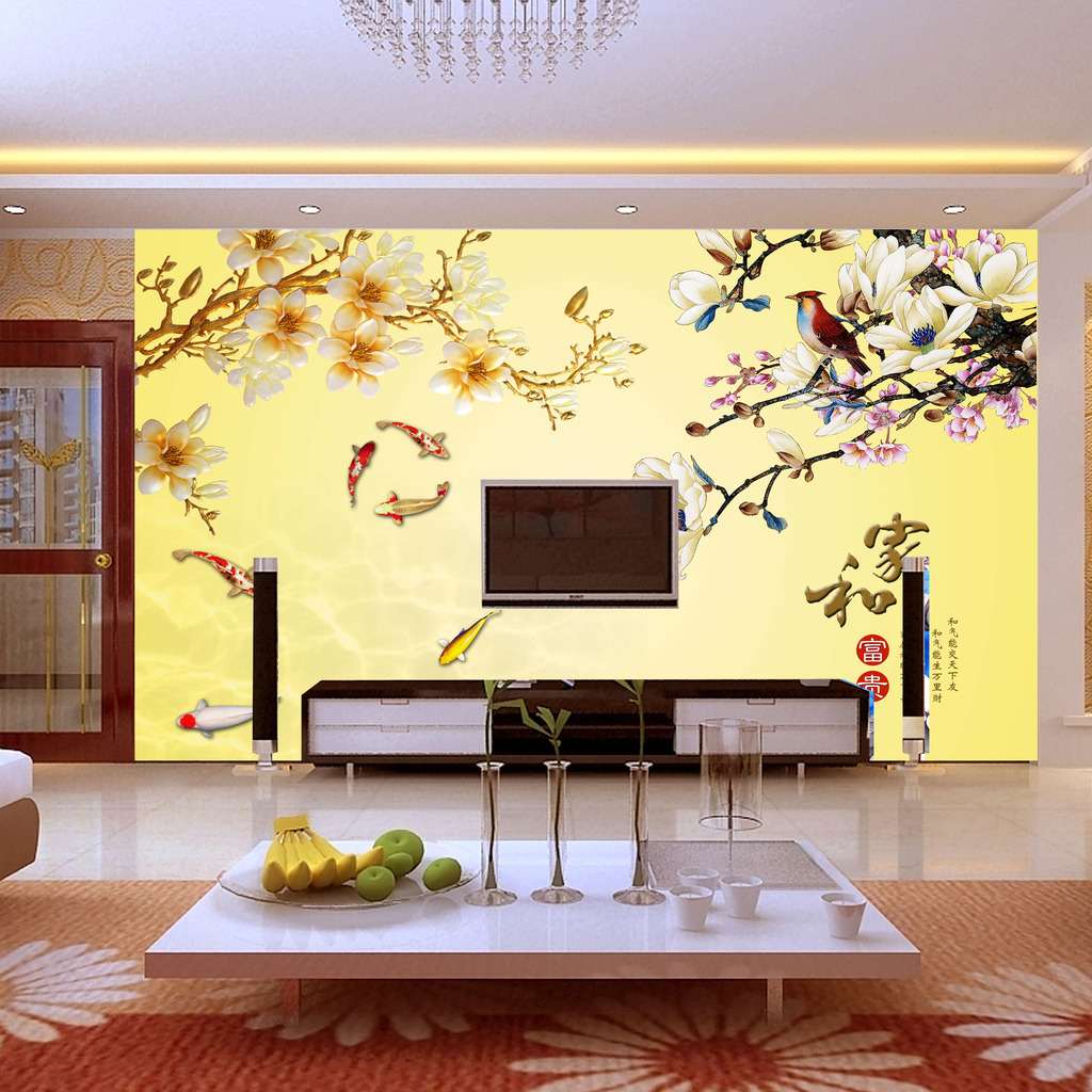 玉兰花电视背景墙