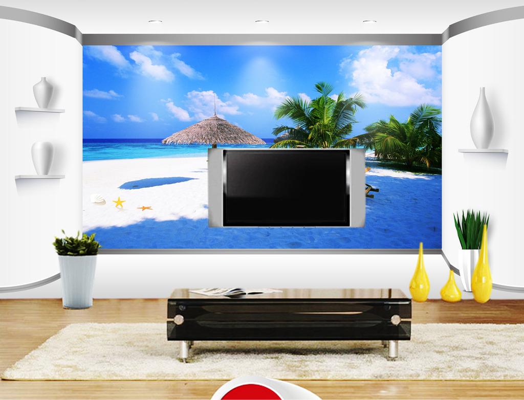 3d海景沙滩电视背景墙