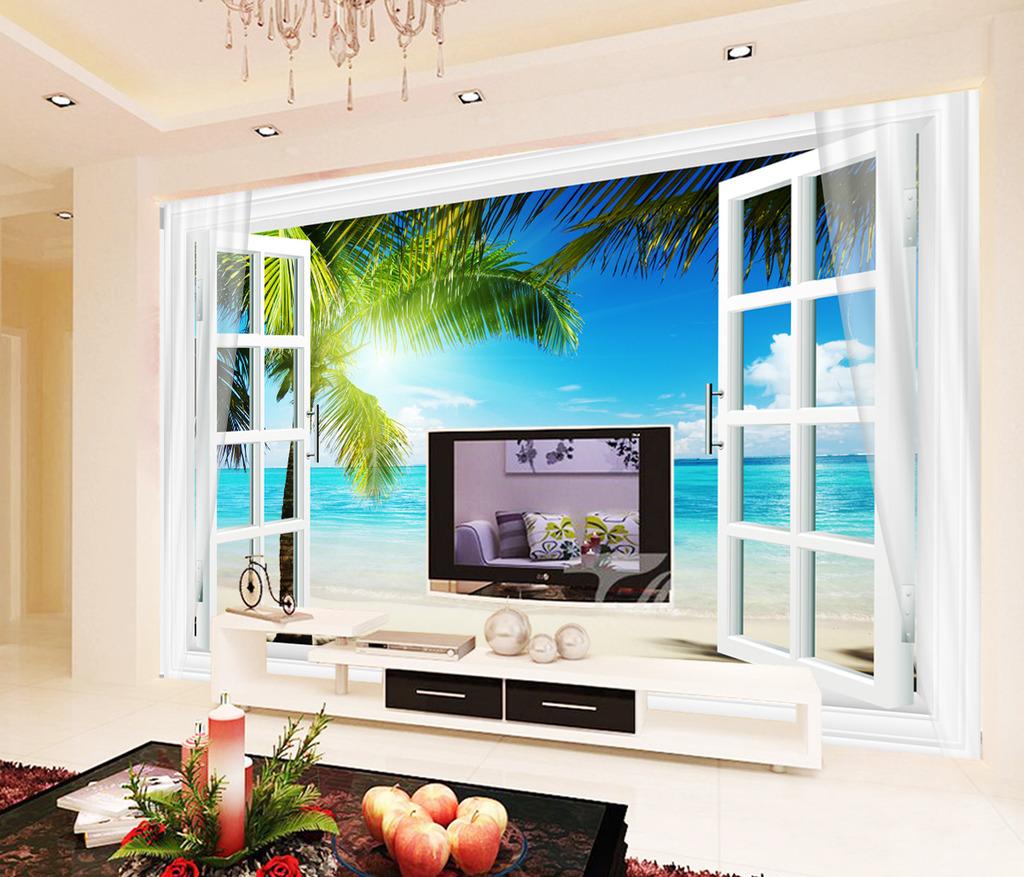 3d窗户窗子风景大海电视背景墙