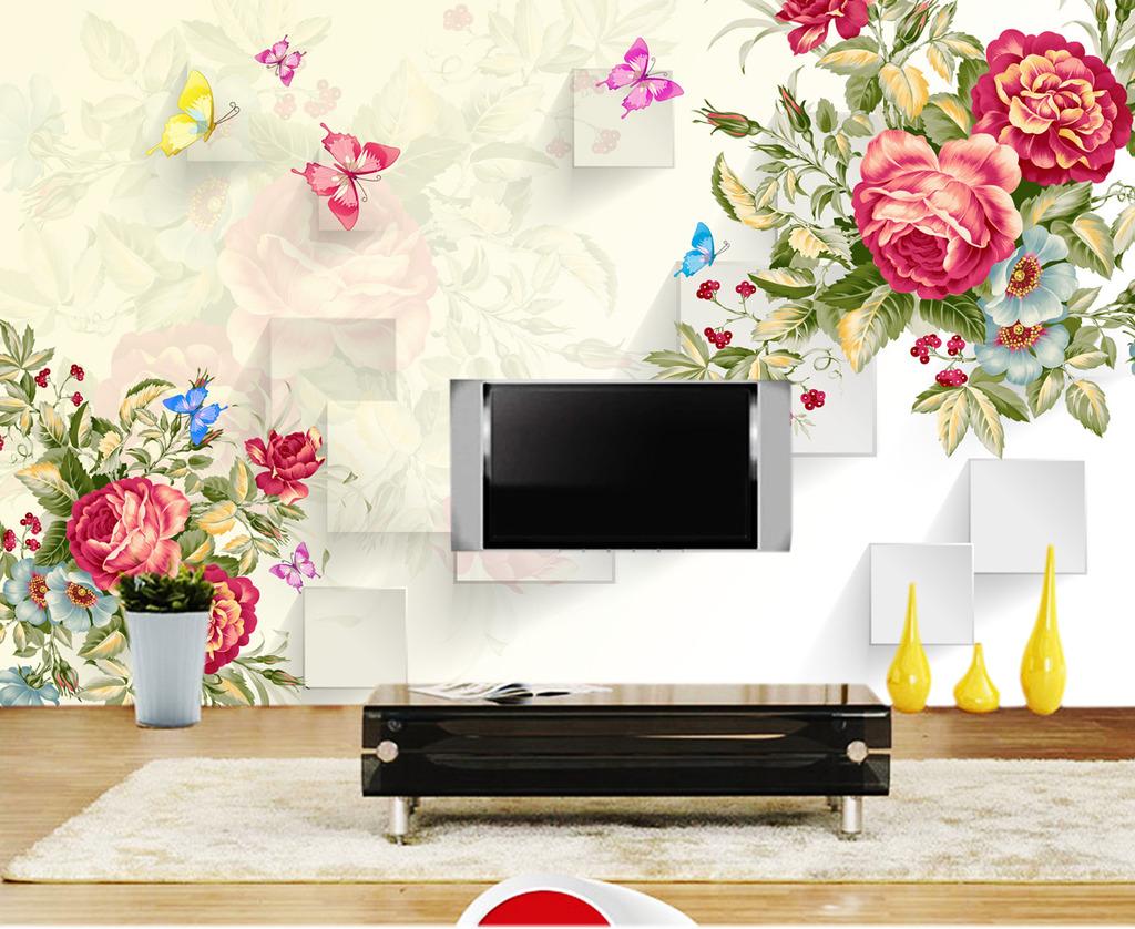 手绘玫瑰花朵3d电视背景墙