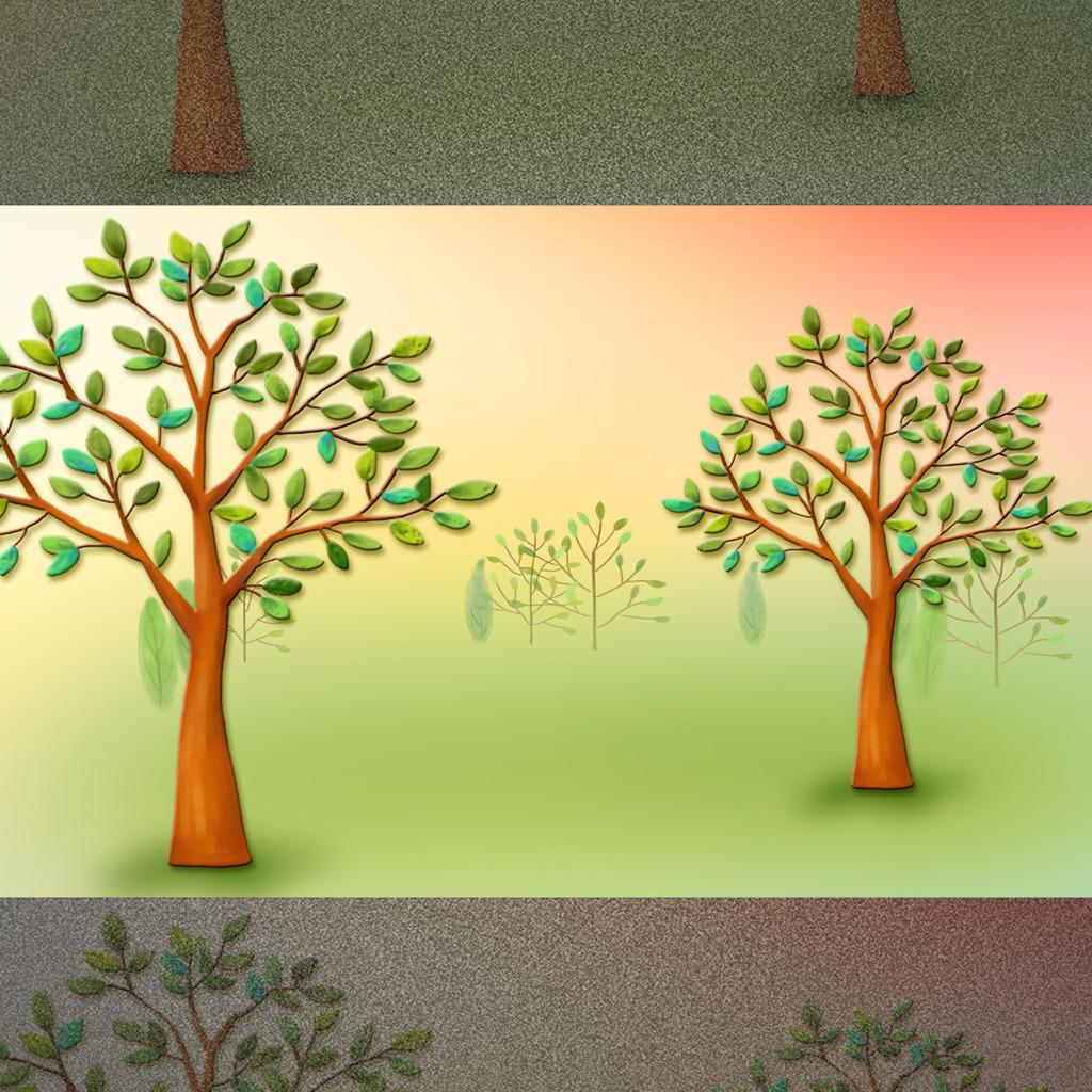 简约手绘树木电视背景墙