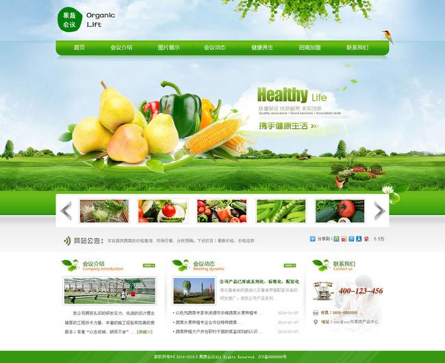 自然和谐绿色果蔬会议这产品网页模板下载(图