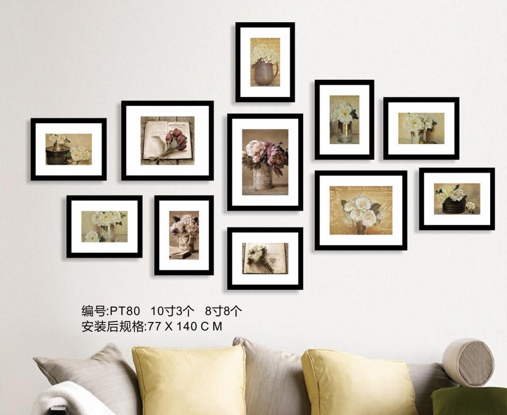 复古欧式插花照片墙图片