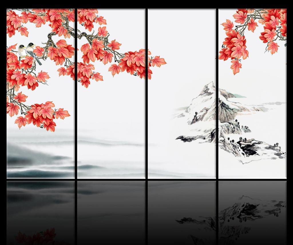 手绘枫叶电视背景墙