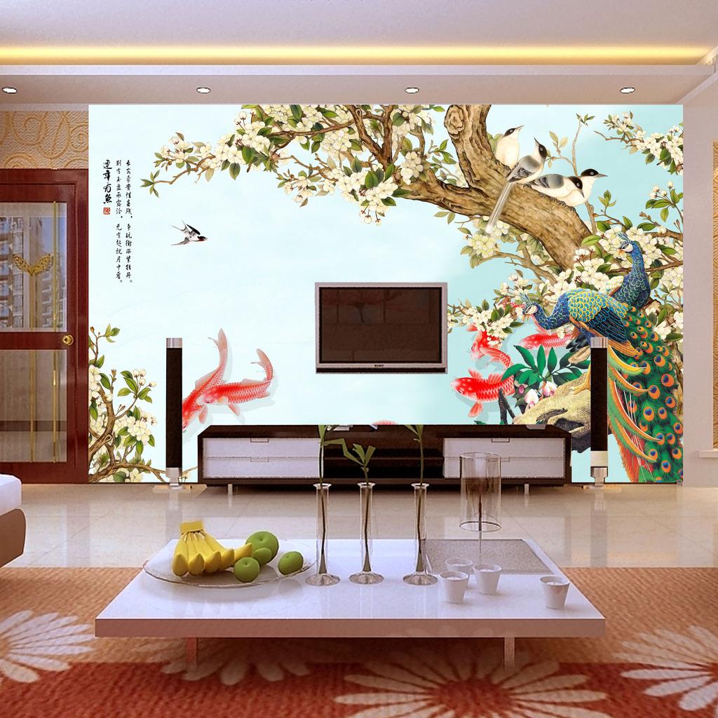 大型客厅手绘花鸟背景墙