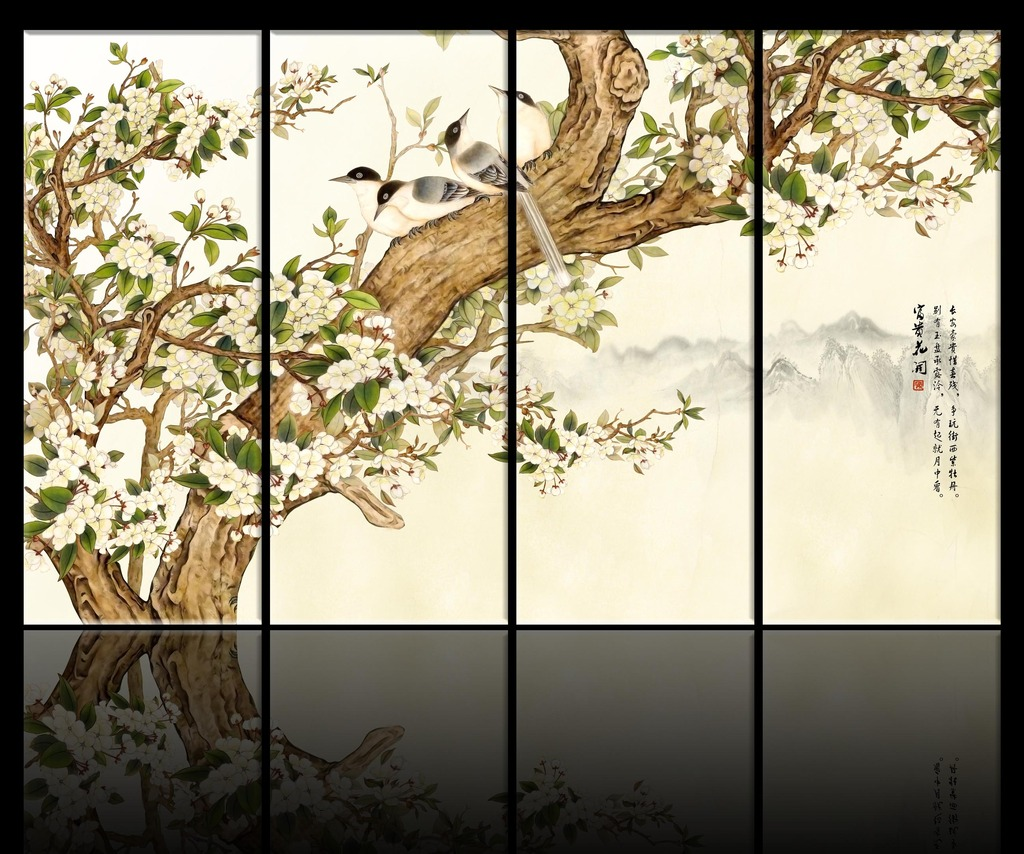 大堂背景墙 手绘背景墙 花鸟背景墙 工笔画背景墙 手绘 国画 中国风