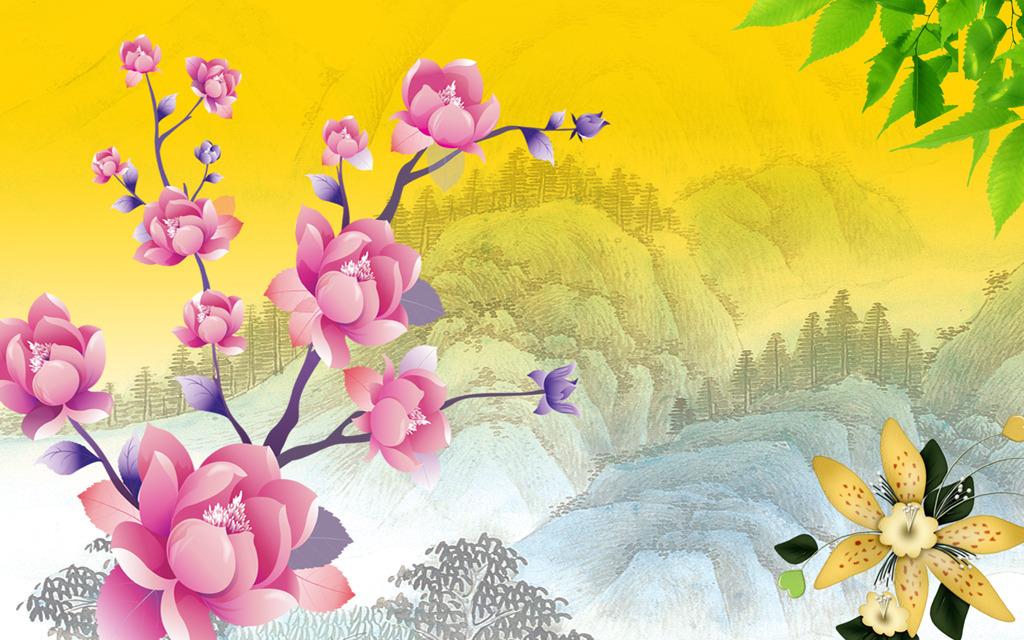 玉兰花山水国画风景画工笔画客厅电视背景墙