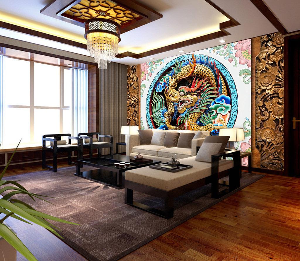 3d立体浮雕木雕花卉中国龙背景墙