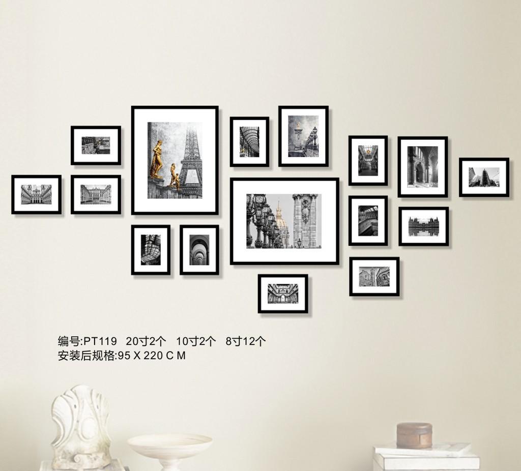 黑白教堂建筑照片墙