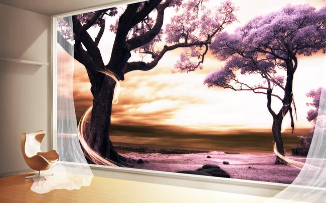 背景墙|装饰画 电视背景墙 3d电视背景墙 > 3d立体空间扩展窗外风景