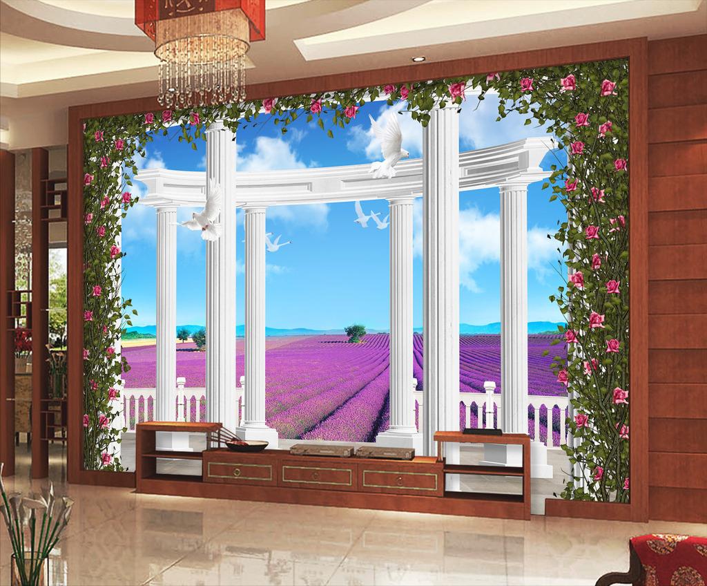 欧式3d薰衣草立体宫殿罗马柱电视背景墙
