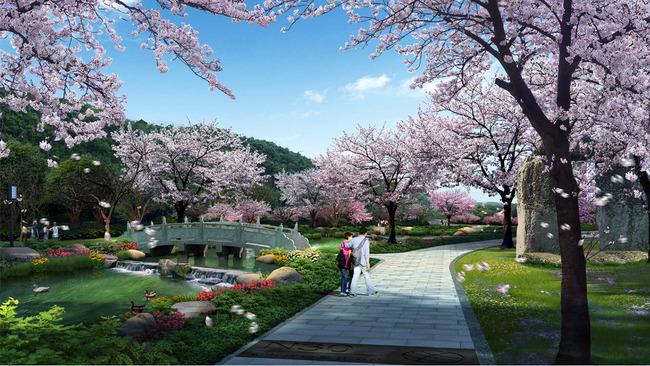 景区滨水步道景观设计效果图