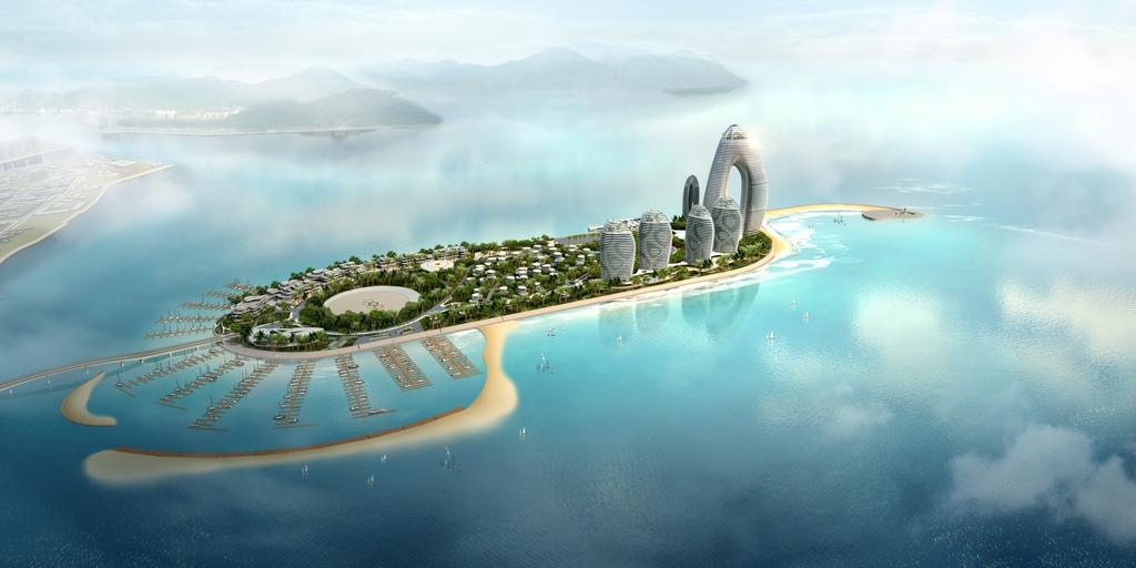 tf212城市中心岛建筑规划鸟瞰
