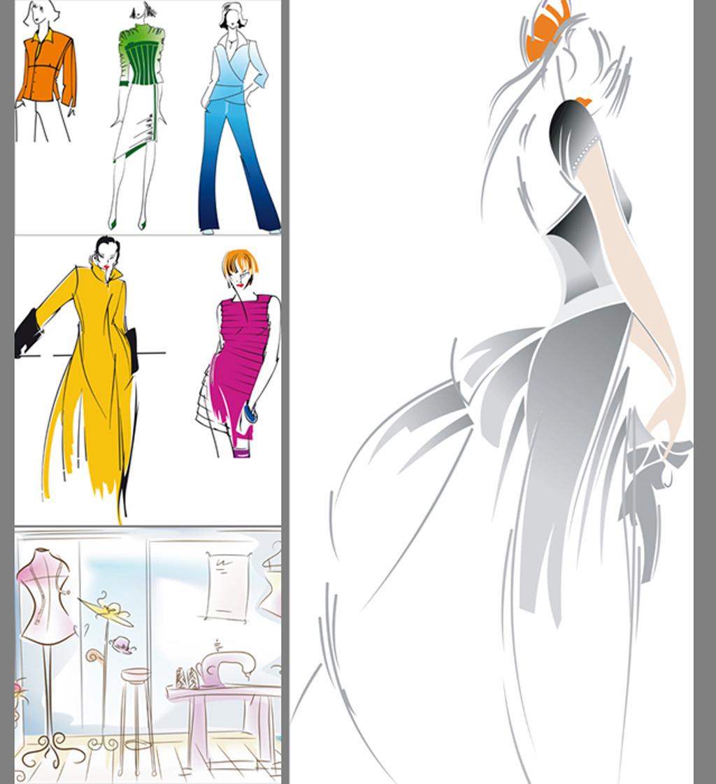 服装模特手绘模板下载