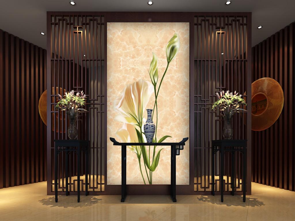 现代装饰画玄关背景墙-百合