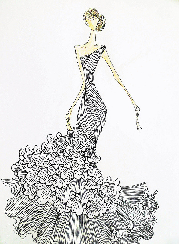 服装设计 服装款式搭配 手绘 服装设计手稿 婚礼 礼服 婚纱 旗袍 手稿