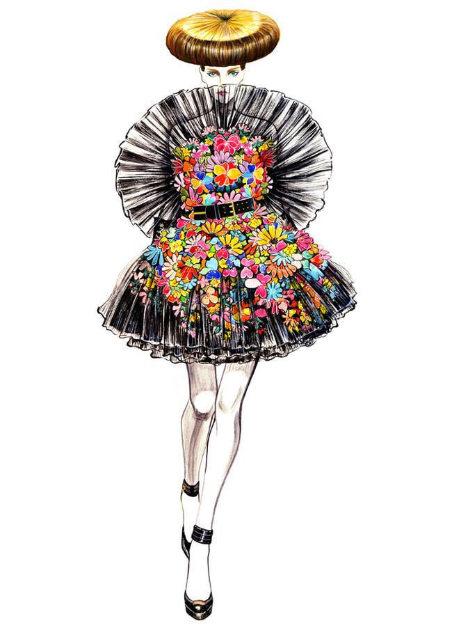 针织裙子款式手绘图