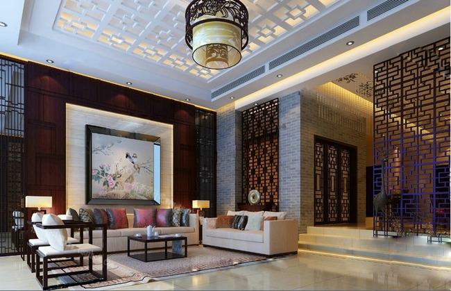现代中式客厅效果图模板下载
