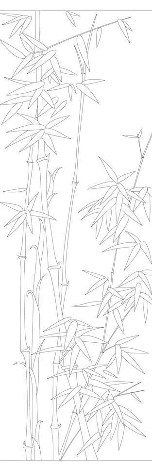 梅兰竹菊白描线条竹图片