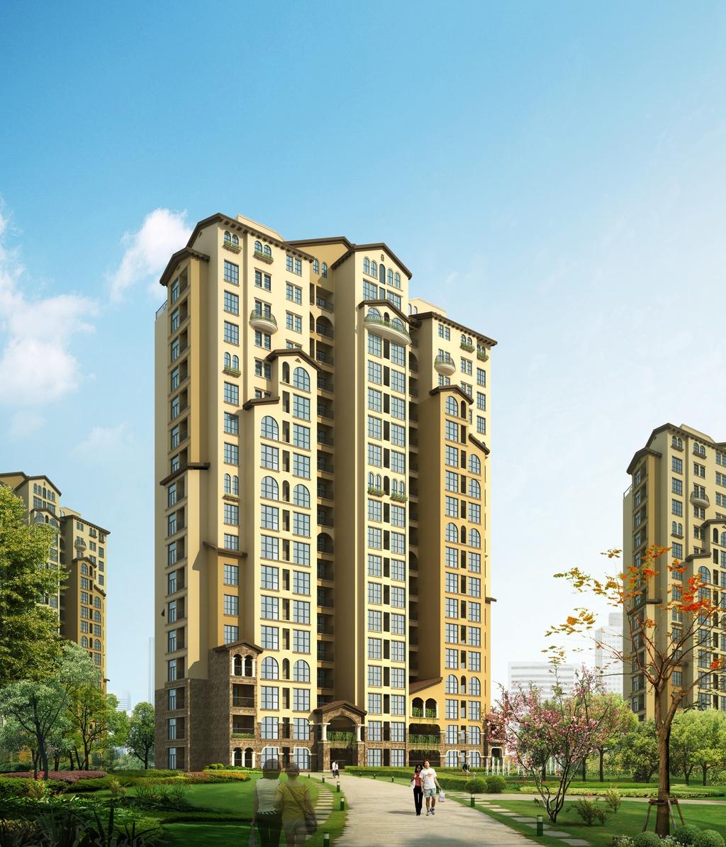 tf217最新中式高层住宅建筑设计效果图片
