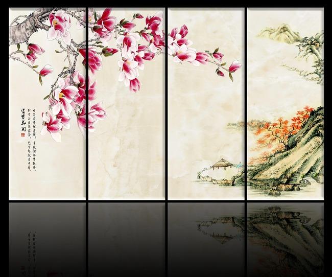 中国风工笔画背景墙模板下载(图片编号:11963860)_墙