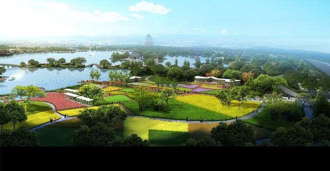 農業生態園景觀鳥瞰設計效果圖