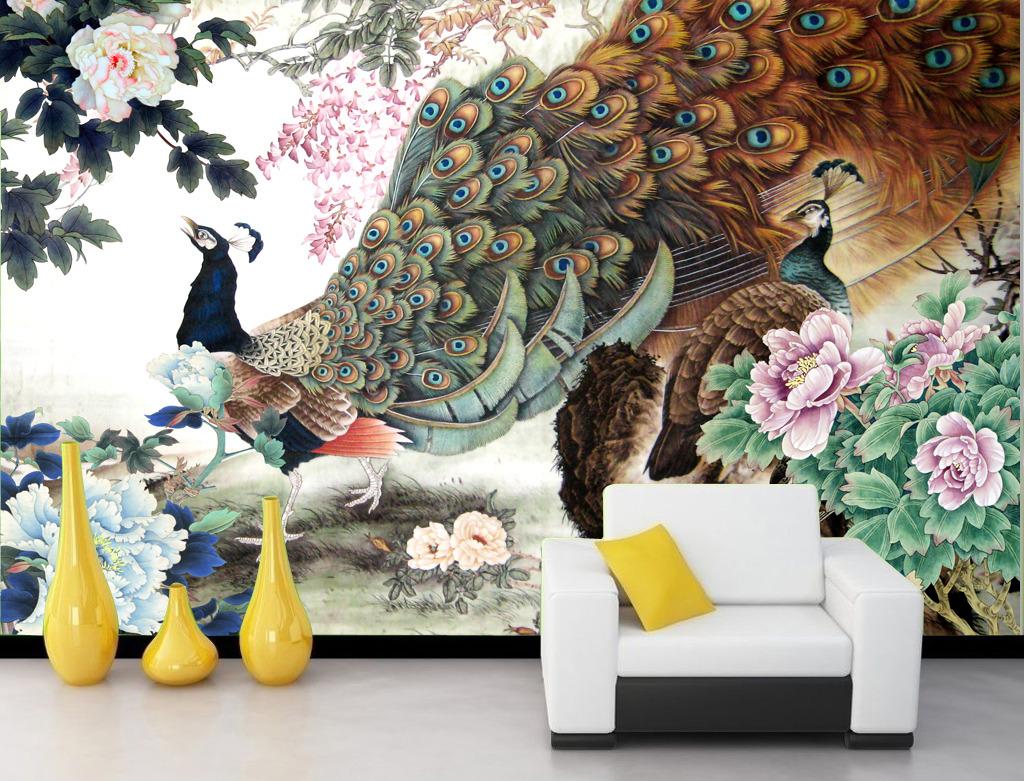 花开富贵国画孔雀牡丹图工笔画背景墙模板下载