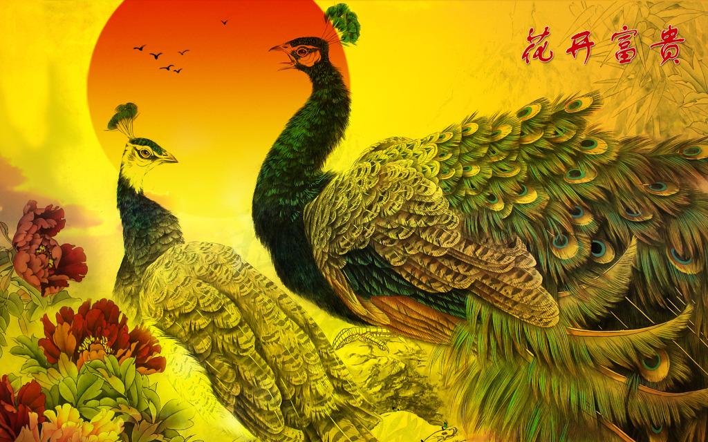 花开富贵国画孔雀牡丹图工笔画背景墙
