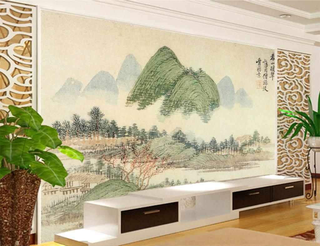 山水画时尚电视背景墙