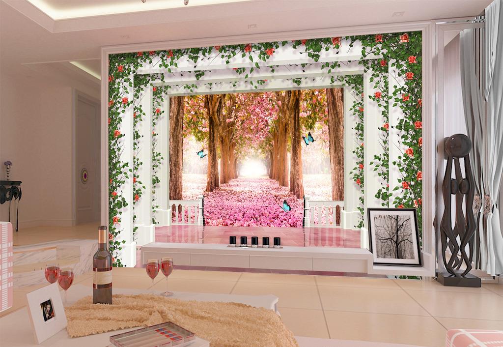 欧式3d樱花立体宫殿罗马柱电视背景墙
