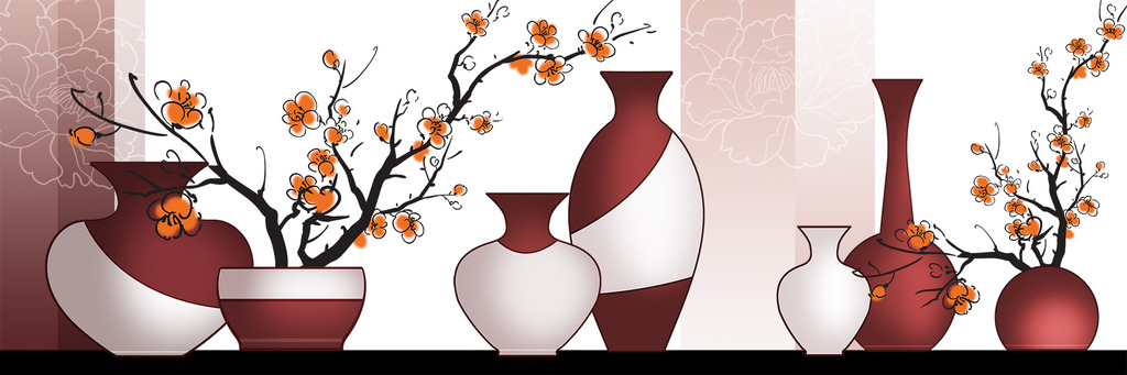家居装饰无框画 墙画 壁挂      装饰画素材 鲜花 花瓶 抽象 手绘