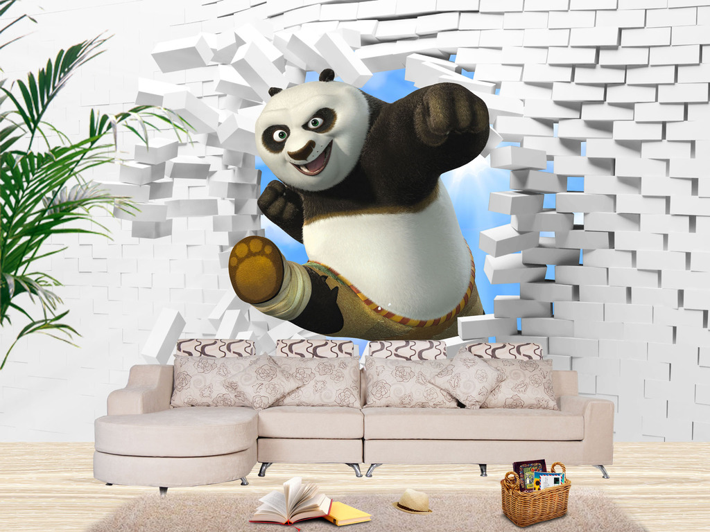 功夫熊猫3d背景墙