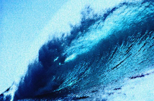 大海海浪风景油画