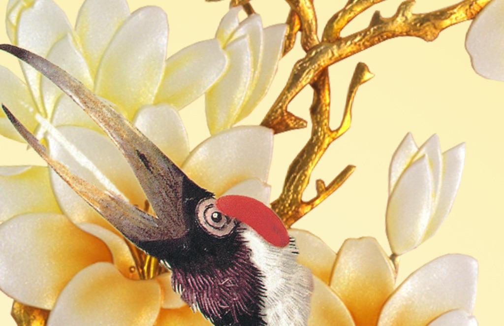 彩雕晶雕国画仙鹤玉兰花家和富贵花开玄关