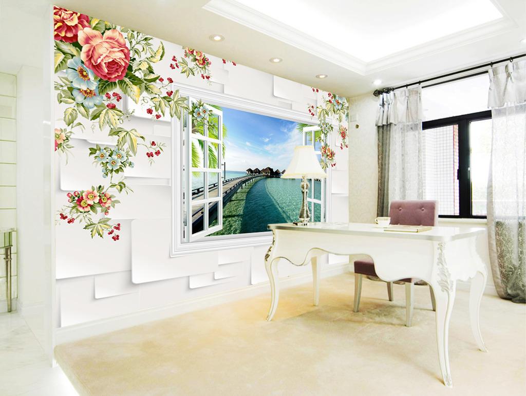 手绘花朵3d风景电视背景墙
