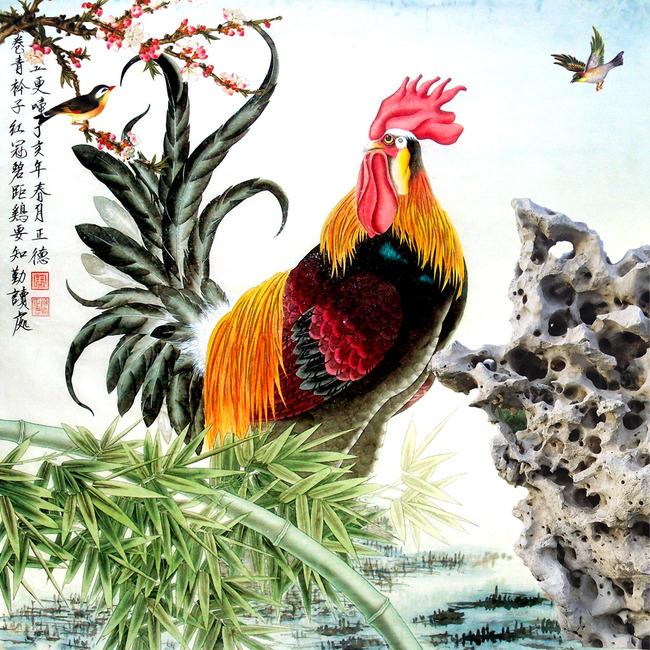 国画工笔画大公鸡独立花鸟图石头背景墙