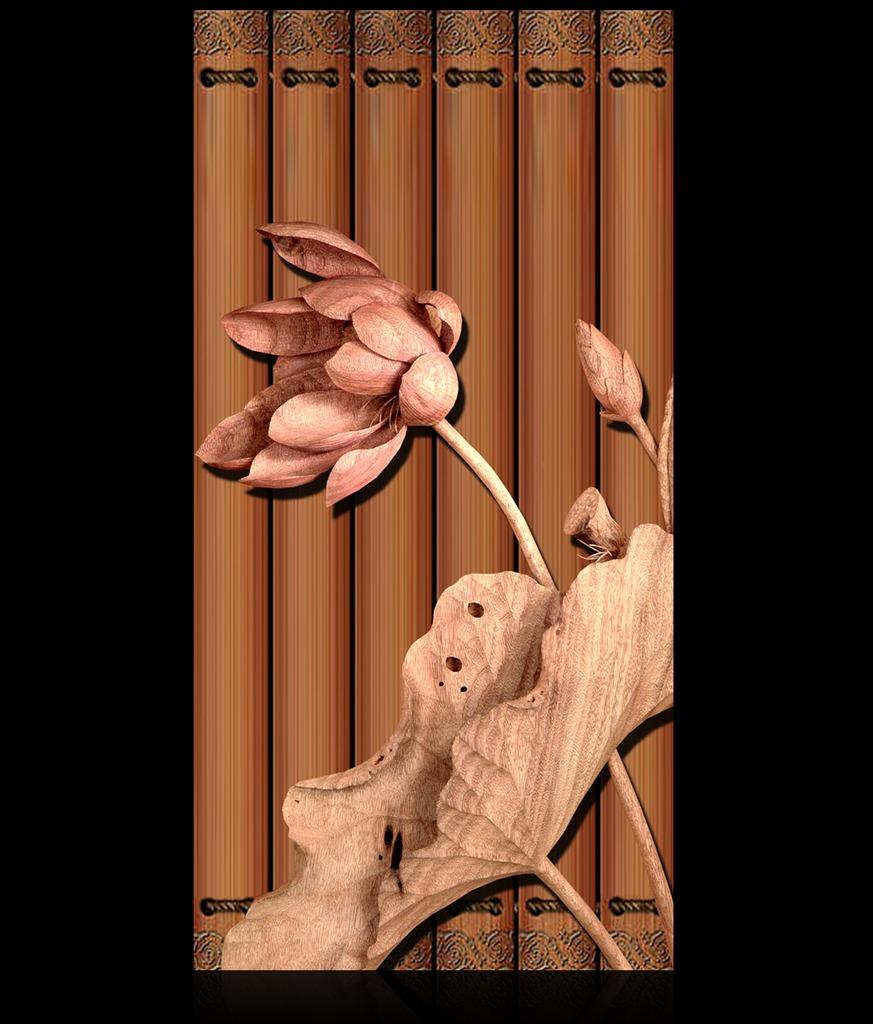 高档立体木雕荷花迎日玄关过道背景墙装饰画