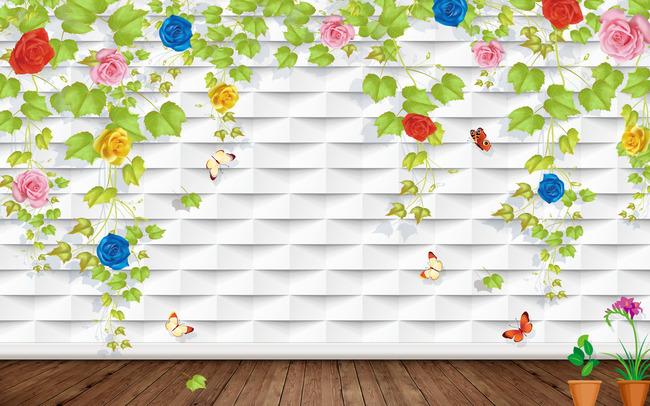 立体墙玫瑰花藤背景墙壁画