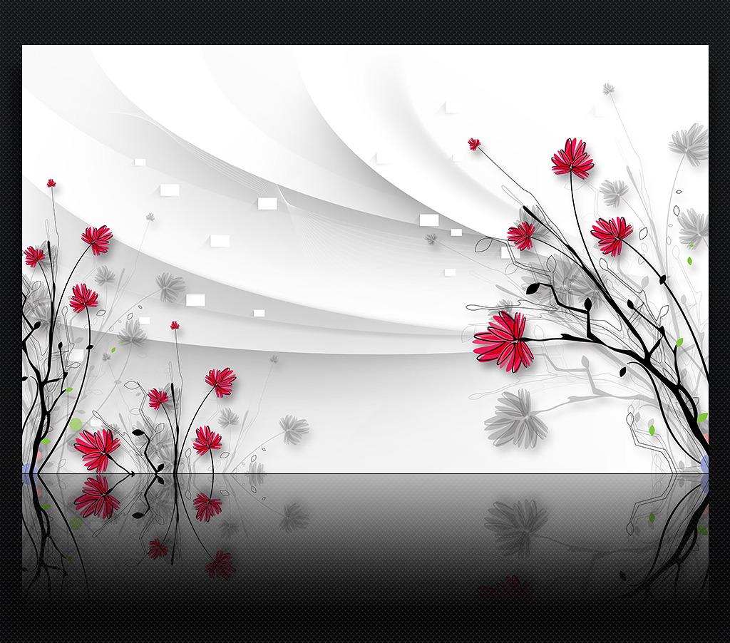 唯美高清手绘线描花朵3d电视背景墙