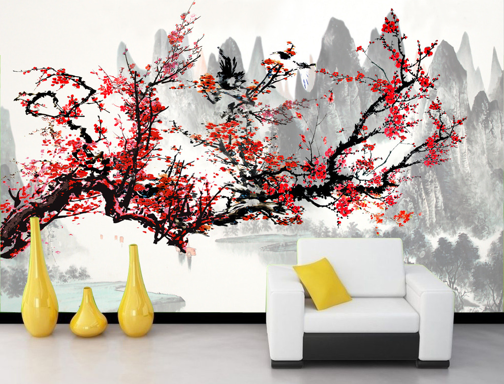 国画山水风景画水墨画梅花客厅电视背景墙