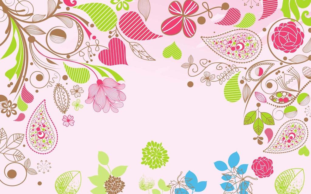 植物彩绘花纹电视背景墙