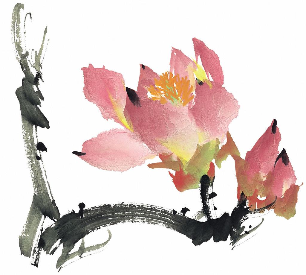 中国风荷花水墨画装饰画