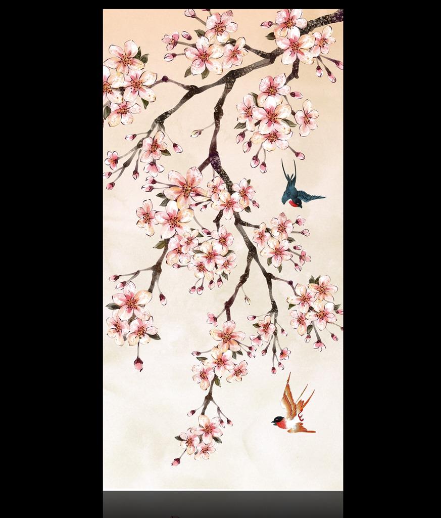 桃花手绘画彩铅笔画分享展示